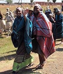 Lesotho-Culture-Parade of Basotho women