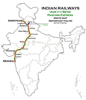 Paschim Express - Image: Paschim Express (Amritsar Mumbai) Route map