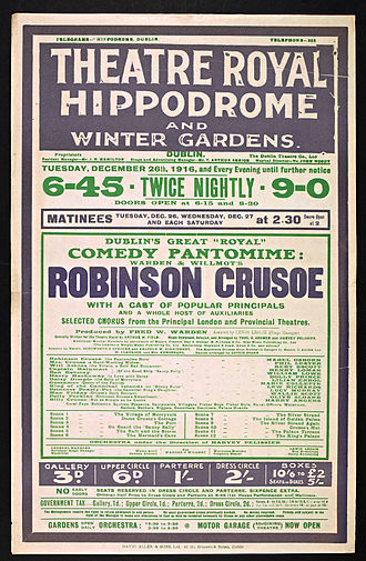 Theatre Royal, Dublin - Theatre poster from 1916