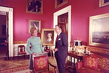 First Lady Pat Nixon In The Red Room With White House Curator Clement Conger Oversaw A Redecoration Of 1971