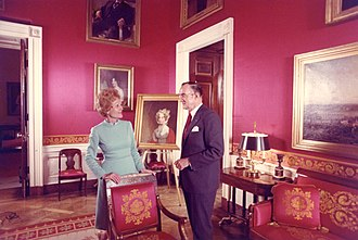 Pat Nixon - Pat Nixon with White House curator Clement Conger, whom she hired, in the Red Room after her redecorations, 1971