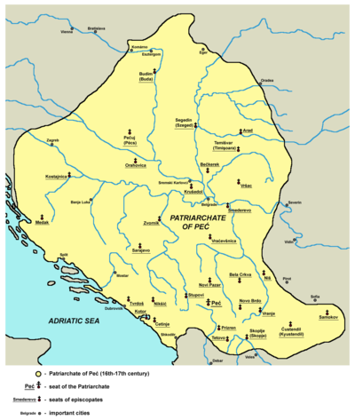 Serbian Patriarchate of Pec (16th-17th century) Patriarchate of Pec in the 16th and 17th century.png