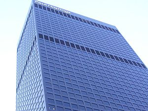 City National Plaza - Photograph of the Paul Hastings Tower from ground level in October 2013