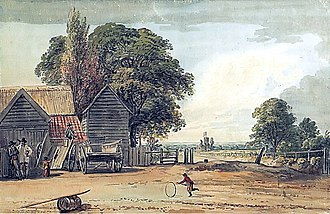 Powis Street - Powis Street as a dirt road, from the east. Paul Sandby, 1783
