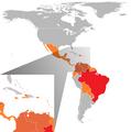 Pays américains avec cas confirmés de virus Zika (février 2016).png
