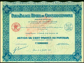 Pera Palace Hotel - Share of the Pera Palace Hotel de Constantinople, issued 10. July 1922