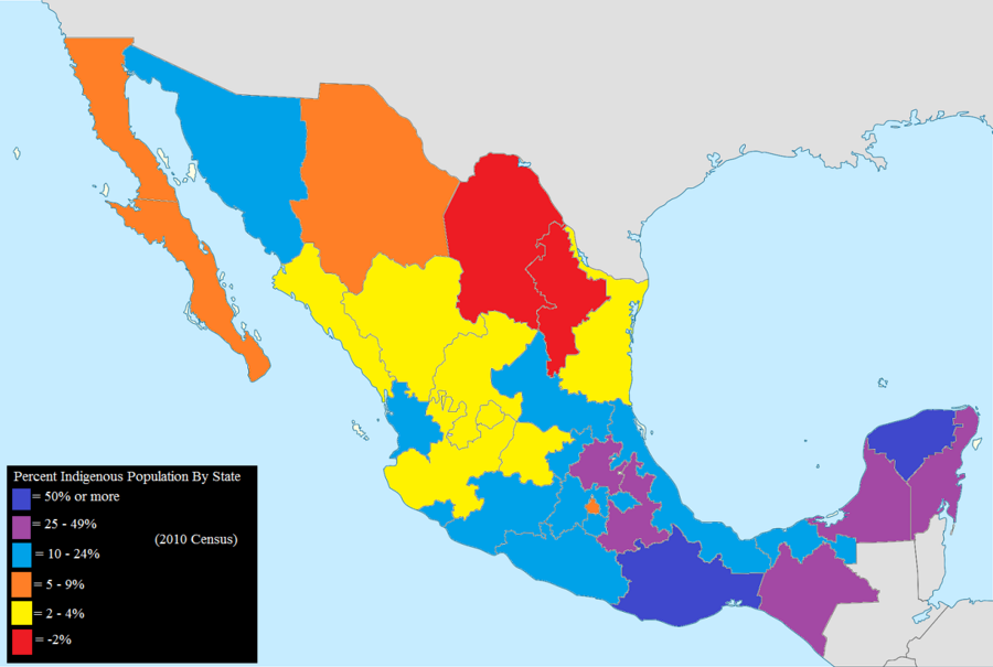 Mexican states by percentage indigenous, 2010. Percent Population Indigenous 2010 (smaller).png