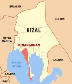 Map of Rizal showing the location of Binangonan