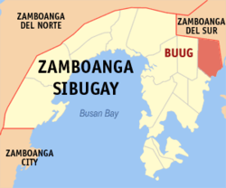 Map of Zamboanga Sibugay with Buug highlighted
