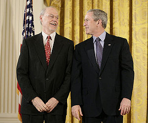 Phillip Allen Sharp - Phillip Sharp with George W. Bush, at the National Medal of Science awards in 2006.