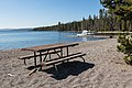 Picnic bench and dock on Plover Point (42867181685).jpg
