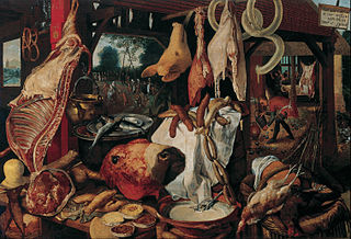 Still Life with Meat and the Holy Family