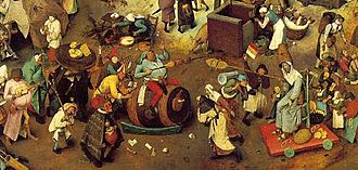 Shrove Tuesday - Pieter Bruegel the Elder: The Fight Between Carnival and Lent (detail), 1559