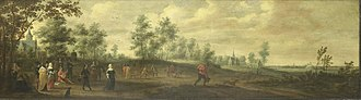Pieter Meulener - Landscape with a dancing couple