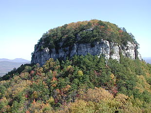 The Big Pinnacle of Pilot Mountain, as viewed from Little Pinnacle Overlook.