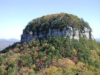 Pilot Mountain (North Carolina) - The Big Pinnacle of Pilot Mountain, as viewed from Little Pinnacle Overlook.