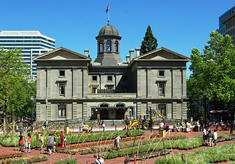 Pioneer Courthouse - The Pioneer Courthouse as viewed from Pioneer Courthouse Square after 2005 renovations.
