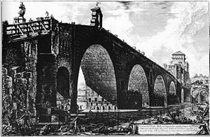 Ponte Milvio - 18th-century engraving by Piranesi