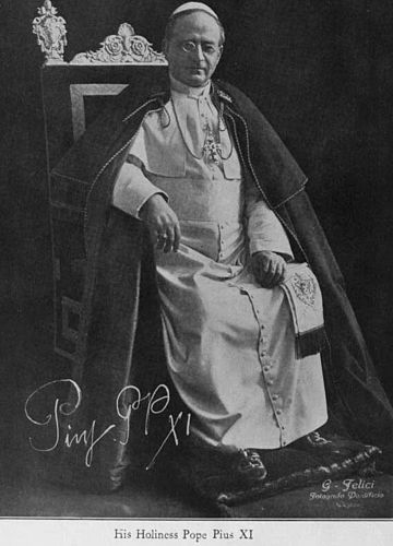 Pope Pius XI (1922-1939). Warsaw forced his departure as Nuncio. Two years later, he was pope. He signed concordats with numerous countries, including Lithuania and Poland. Pius XI after Coronation.jpg