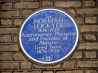 Norman Lockyer - English Heritage plaque in Penywern Road, Earls Court, London.