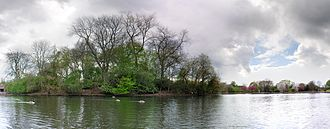 Platt Fields Park - A panorama of the lake and the central island sanctuary