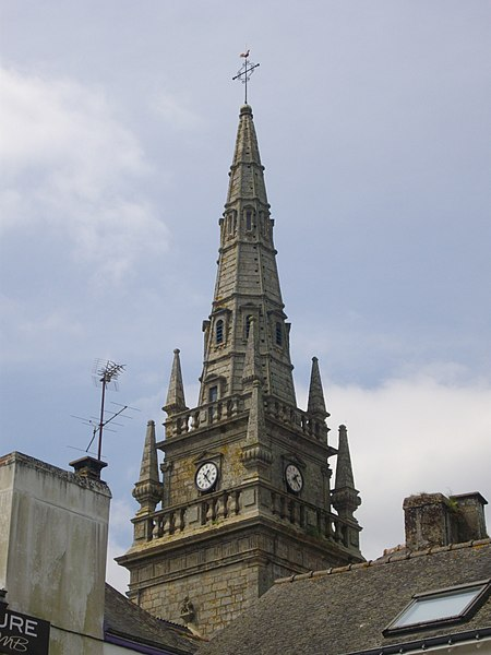 Saint Guigner church of Pluvigner (Morbihan, France). Tower