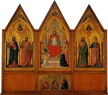 Front side. Tempera on wood. cm 178 x 89 (central panel); cm 168 x 83 c. (side panels); cm 45 c. x 83 c. (each section of the predella) Polittico stefaneschi, verso.jpg