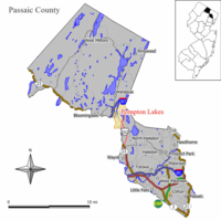 Map of Pompton Lakes in Passaic County. Inset: Location of Passaic County highlighted in the State of New Jersey.
