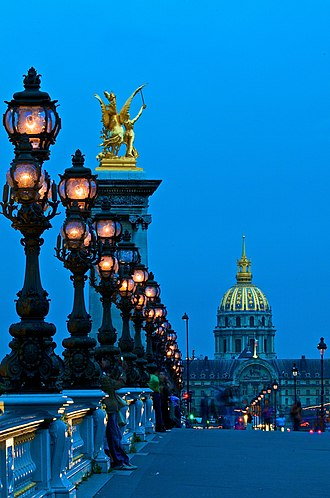 Pont Alexandre III - Twilight view, looking toward the dôme of Les Invalides