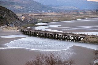 Pont Briwet Road and railway bridges in Gwhnedd, North Wales