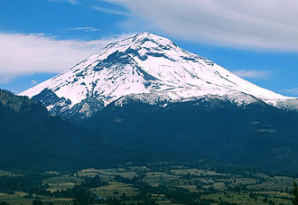 Popocatépetl - Popocatépetl from Amecameca (looking south-east)
