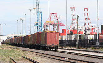 Port of Melbourne - Train loaded with containers at Swanson Dock East