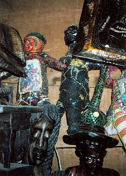 Vodou paraphernalia for sale at the Marche de Fer (Iron Market) in Port-au-Prince, Haiti. PortAuPrinceMarche.jpg