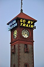 File:Portland Union Station at dusk - clock tower.jpg