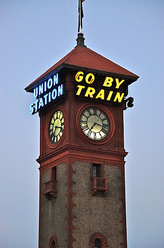 Portland Union Station - The clock tower with its blue and gold neon signs