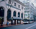 Portland transit mall bus stop in front of Bank of California Building in January 2007.jpg