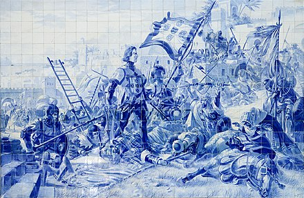 Representation of Prince Henry the Navigator during the Conquest of Ceuta in azulejos at the Sao Bento Railway Station. Porto April 2019-7.jpg