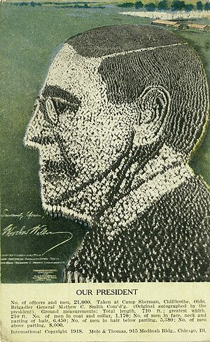 Chillicothe, Ohio - Image of President Woodrow Wilson created by 21,000 standing soldiers at Camp Sherman in Chillicothe, 1918