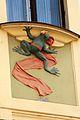 Prague Praha 2014 Holmstad fasade U Novaku i Vodickova Street mosaikk jugend art nouveau architecture nybyen frog prince froskeprins under vindu window.jpg