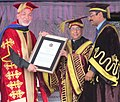 Pranab Mukherjee awarding the LPU's 1st Honorary Doctorate Degree to the President of Islamic Republic of Afghanistan, Mr. Hamid Karzai, at the 3rd Convocation of Lovely Professional University, Jalandhar, Punjab.jpg
