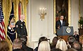 President Barack Obama delivers remarks before presenting a Medal of Honor to U.S. Army Staff Sgt. Ty Michael Carter, left, during a ceremony at the White House in Washington, D.C., Aug. 26, 2013 130826-A-AJ780-003.jpg