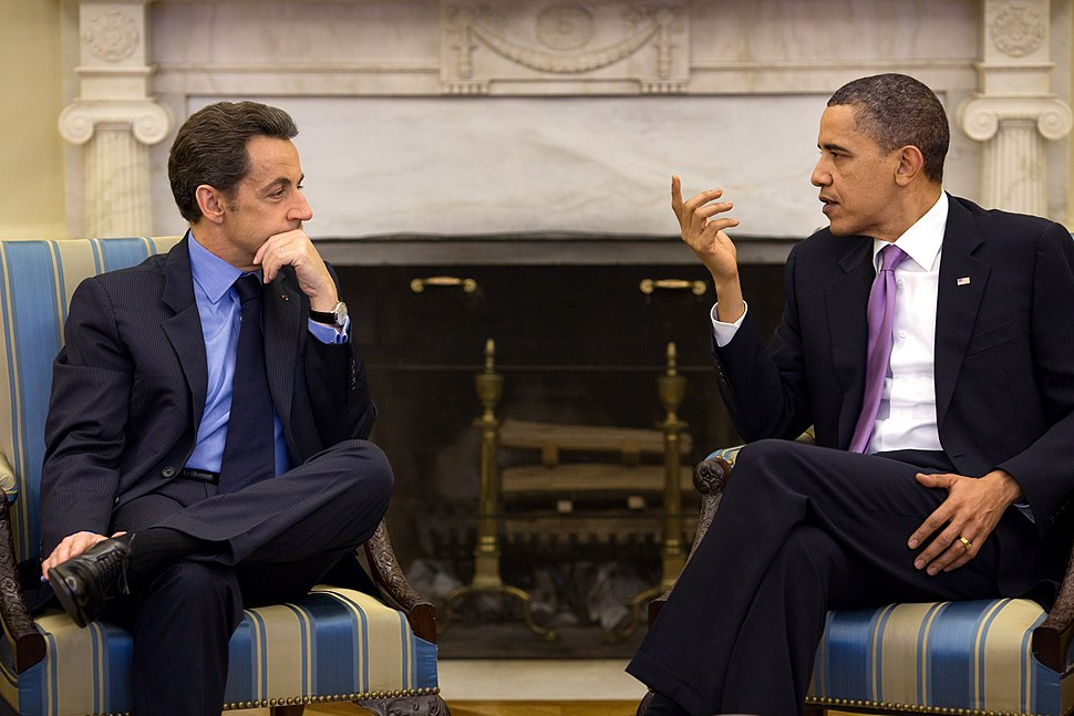 President Barack Obama meets with President Nicolas Sarkozy of France in the Oval Office, March 30, 2010