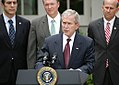 President George W Bush delivers remarks before signing the FISA Amendments Act of 2008.jpg