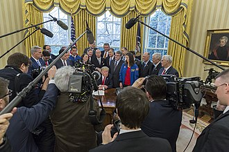 Presidency of Donald Trump - President Donald Trump talking to the press, March 21, 2017, before signing S.422, the National Aeronautics and Space Administration Transition Authorization Act, in the Oval Office