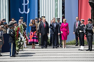 Andrzej Duda - Duda with U.S. President Donald Trump and Melania Trump  in Warsaw