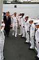 President William Jefferson Clinton and Adm. Charles R. Larson are piped aboard as sideboys salute upon their arrival at the Arizona Memorial.jpg