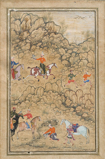 Akbar hawking with Mughal chieftains and nobleman accompanied by his guardian Bairam Khan Prince Akbar and Noblemen Hawking, Probably Accompanied by His Guardian Bairam Khan.jpg