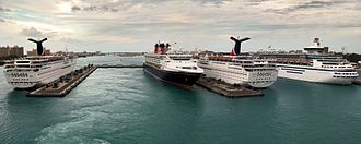 Transport in the Bahamas - Cruise ships at Nassau's Prince George Wharf.