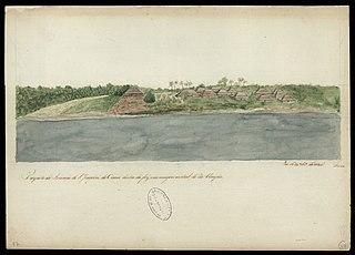 Prospecto da povoação de S. Joaquim do Cuané dentro da foz, e na margem austral do rio Uaupés