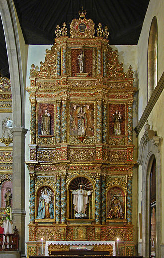 Retablo - A Baroque carved wood reredos, or retablo in the original Spanish sense, Tenerife.